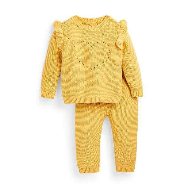 Gelbes gestricktes Set für Neugeborene (M), 2-teilig
