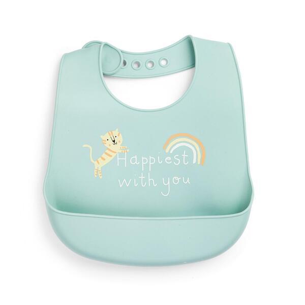 Mintgrünes Silikon-Lätzchen mit Tier-Print für Babys
