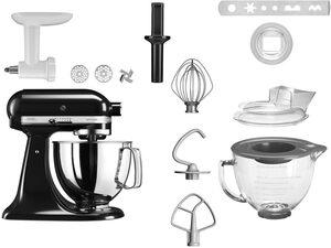 KitchenAid Küchenmaschine Artisan 5KSM125ESN, 300 W, 4,8 l Schüssel, mit Gratiszubehör im Wert von ca. UVP 238,99: Fleischwolf+Glasschüssel mit Deckel+Spritzgebäckvorsatz+Spritzschutz