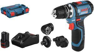 Bosch Professional Akku-Bohrschrauber »GSR 12V-15«, max. 1300 U/min, (Set), inkl. 2 Akkus, Ladegerät, Koffer und Flexi-Click Aufsätze
