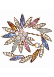 J.Jayz Brosche »spiralförmige Optik, Steine in Mandelform«, mit Glassteinen
