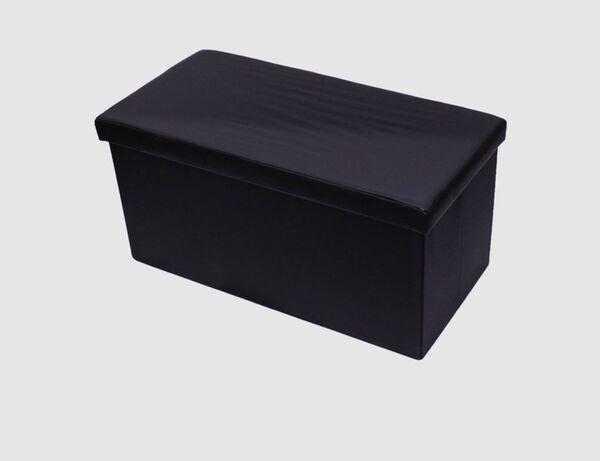 Sitzhocker Kunstleder schwarz rechteckig