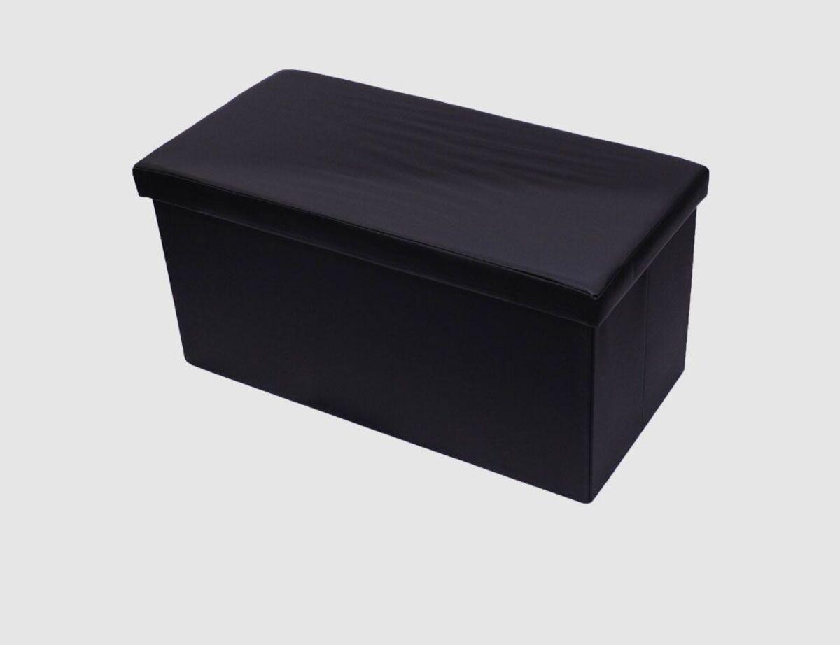 Bild 2 von Sitzhocker Kunstleder schwarz rechteckig