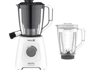 KRUPS KB42Q1 Blendforce 2in1 Standmixer Weiß/Dunkelgrau (600 Watt, 1.25 Liter Mixbehälter, 1 Entsafterbehälter)