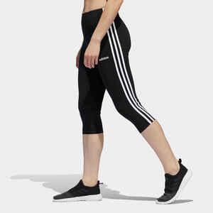 Leggings 3/4 Essentials 3 Streifen Baumwolle Damen schwarz