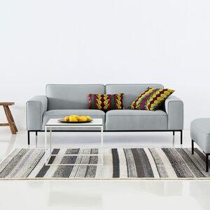 home24 Studio Copenhagen Sofa Ampio 3-Sitzer Hellgrau Webstoff 205x77x93 cm