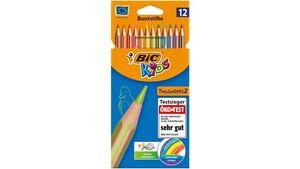 BIC Kids Tropicolors 2, 12er Set Kinder-Buntstifte, Malstifte ab 5 Jahre, Bruchsichere Mine & ohne Holz