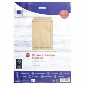 Versandtaschen - ohne Fenster - DIN C4 - braun - 10 Stück