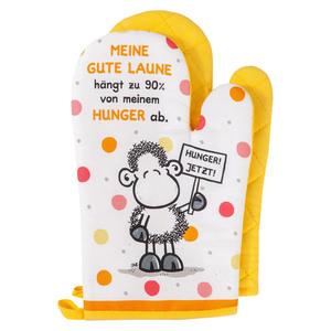 """Sheepworld Ofenhandschuhe, """"Meine gute Laune hängt zu 90% von meinem Hunger ab"""" - 2er-Set"""
