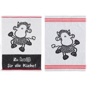 """Sheepworld Küchenfrottiertücher, """"Zu heiß für die Küche"""" - 2er-Set"""