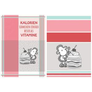 """Sheepworld Geschirrtücher, """"Kalorien schmecken einfach besser als Vitamine"""" - 2er-Set"""