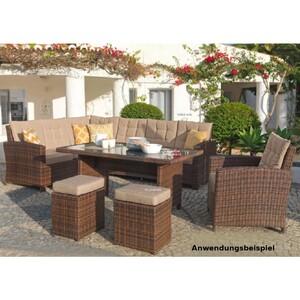 Garten-Sitzgarnitur Chiara braun mit zwei Stühlen und Sessel