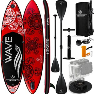KESSER Aqua Aufblasbares SUP Board Set 6 Zoll Dick Komplettes Zubehör Surfboard, Rot