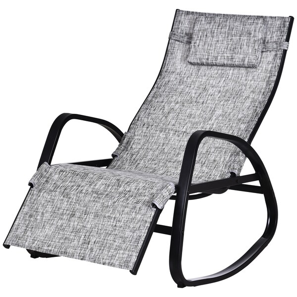 Outsunny Schaukelstuhl mit verstellbarer Rückenlehne und Fußstütze grau/schwarz