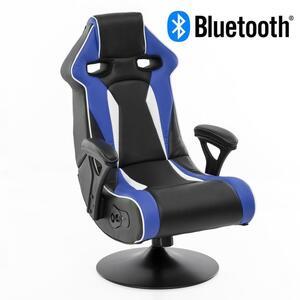 WOHNLING® Soundchair SPECTER II in Blau-Weiß-Schwarz mit Bluetooth   Racing Musiksessel eingebaute Lautsprechern   Multimediasessel Gamer   1.1 Soundsystem - Subwoofer   Music Sessel Rocker Chair