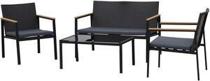 Outsunny Garten Möbelset, 4-teilige Sitzgruppe, Sitzgarnitur, 3 Sofa, Couchtisch, mit Sitzkissen, PP Rattan, Schwarz 108 x 66 x 75 cm