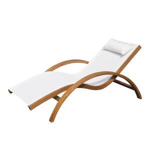 Outsunny Sonnenliege Gartenliege Liegestuhl Relaxliege Liege Relaxsessel mit Kopfkissen Lärche + Textilgewebe Braun + Creme 161 x 72 x 68 cm