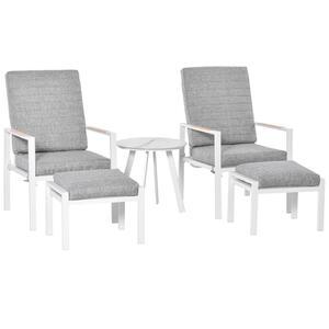 Outsunny 5-teiliges Gartenmöbel Set mit Rückenkissen Sitzkissen Balkonmöbel mit 3-stufig verstellbare Rücklehne Hartglas Aluminium Stoff Schaumstoff Kiefernholz Grau+Weiß 61 x 82 x 90 cm