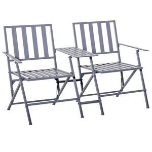 Outsunny Gartenstuhl Balkonstuhl Sitzgruppe mit Teetisch 2 Stühle Klappbar Stahl  141 x 60 x 87 cm Grau