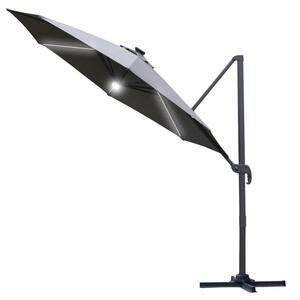 Outsunny Sonnenschirm 3x3m Ampelschirm Roma Schirm mit Solar-LED-Lichtern 360° drebar neigbar Alu Dunkelgrau