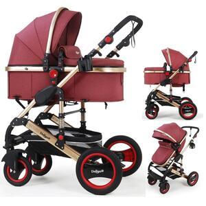 2in1 Kinderwagen Bambimo Kombikinderwagen 9-Teile Set in Elegance-Rot incl. Babywanne & Buggy & Alu-Gestell & Gummireifen & mehr