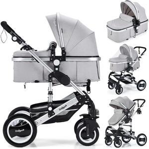 2in1 Kinderwagen Bambimo Kombikinderwagen 9-Teile Set in Elegance-Grau incl. Babywanne & Buggy & Alu-Gestell & Gummireifen & mehr