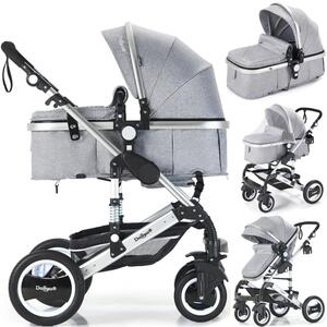 2in1 Kinderwagen Bambimo Kombikinderwagen 9-Teile Set in Grau incl. Babywanne & Buggy & Alu-Gestell & Gummireifen & mehr