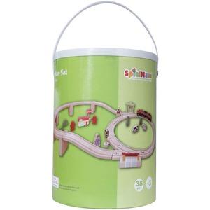 SpielMaus Baby SpielMaus Holz Holzeisenbahn in Trommel, 38-teilig