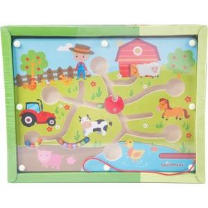 SpielMaus Holz SpielMaus Kugellabyrinth + Magnetstift Bauernhof