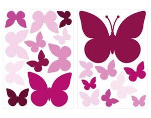 Wandtattoo Schmetterlinge Mädchen 20 Stück Wandtattoos pink Gr. one size  Kinder