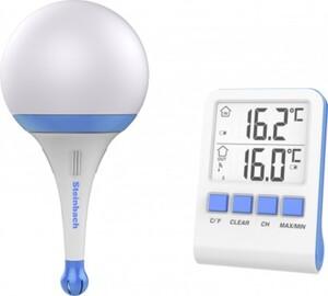 Steinbach Solarleuchte mit Funkthermometer blau