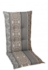 Go-De Sessel-Auflage mittel, grau beige gemustert, 110 x 50 x 7 cm
