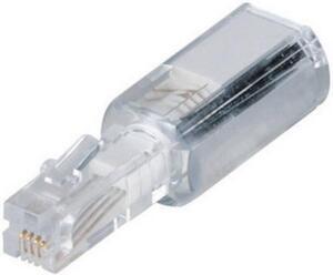 Hama Kabel-Entzwirler Adapter [1x RJ10-Stecker 4p4c - 1x RJ10-Buchse 4p4c] Weiß (transparent)