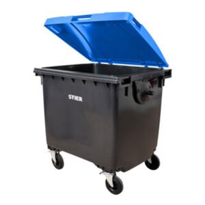 STIER 4-Rad-Müllgroßbehälter 1100 l grau/blau Flachdeckel BxTxH 1372x1065x1315 mm