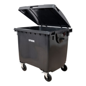 STIER 4-Rad-Müllgroßbehälter 1100 l grau Flachdeckel BxTxH 1372x1065x1315 mm
