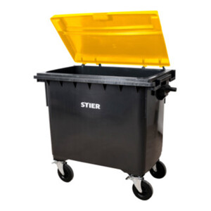 STIER 4-Rad-Müllgroßbehälter 660 l grau/gelb Flachdeckel BxTxH 1371x764x1222 mm