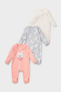 C&A Multipack 3er-Baby-Schlafanzug-Bio-Baumwolle, Rosa, Größe: 68
