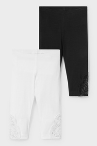 C&A Multipack 2er-Capri-Leggings-Bio-Baumwolle, Schwarz, Größe: 98