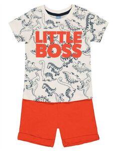 Baby Set aus Shirt und Shorts - Message-Print