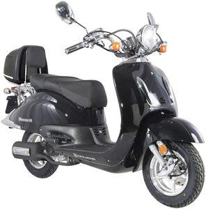 Alpha Motors Motorroller »Retro Firenze«, 50 ccm, 45 km/h, Euro 4, 50 ccm, 45 km/h, schwarz inkl. Topcase