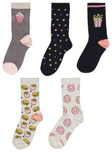 HEMA 5er-Pack Kinder-Socken, Fastfood Dunkelblau