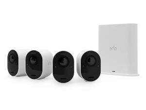 Arlo Ultra 2, kabellose 4K-UHD-Sicherheitskamera, 4er-Set, SmartHub, weiß