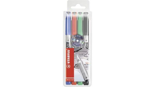 STABILO® Permanent-Marker - STABILO Write-4-all - superfein - 4er Pack - blau, rot, grün, schwarz