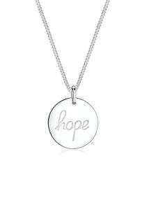 Elli Kette mit Anhänger Plättchen mit Gravur Hope 925 Silber