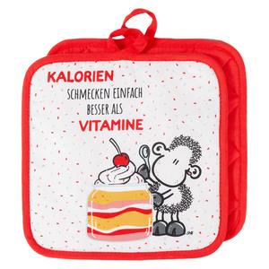 """Sheepworld Topflappen, """"Kalorien schmecken einfach besser als Vitamine"""" - 2er-Set"""