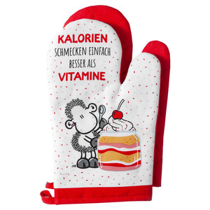"""Sheepworld Ofenhandschuhe, """"Kalorien schmecken einfach besser als Vitamine"""" - 2er-Set"""