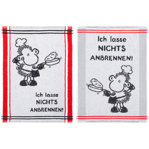 "Sheepworld Küchenfrottiertücher, ""Ich lasse nichts anbrennen"" - 2er-Set"