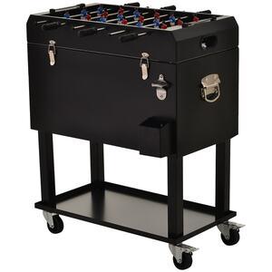 Outsunny Tischkicker mit Kühlbox schwarz