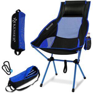 KESSER Campingstuhl faltbar hohe Rückenlehne bis 120 kg mit Getränkehalter, Blau