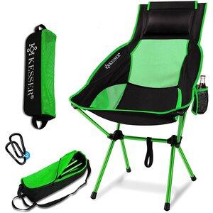 KESSER Campingstuhl faltbar hohe Rückenlehne bis 120 kg mit Getränkehalter, Grün